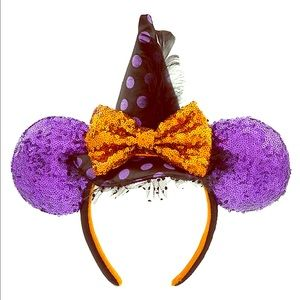 NWT Sequined Minnie Witch Ears Disney Parks Auth